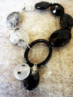 Collezione Autunno-Inverno 2016 bracciale in argento 925\000, quarzo grafitato e onice
