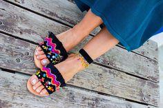 RiRiPoM Boho Sandals Pom Pom Sandals Handmade Sandals