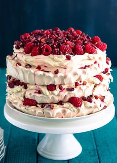 Raspberry Pomegranate Layered Pavlova