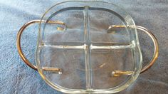 Serving Dish Vintage Marked Fidenza Italy 4 Section Rounded Corners & Shiny Silver Metal Holder