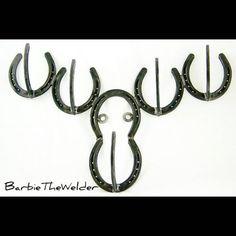 Horseshoe Moose head coat rack perfect for a kids bedroom organization