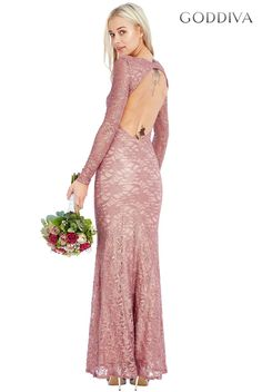 Open Back Lace Maxi Dress - Dustypink - Front - DR663