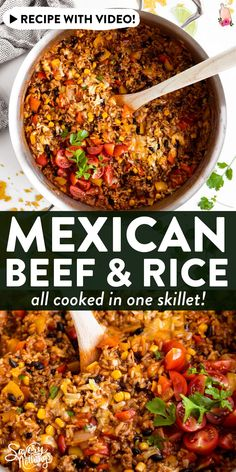 Ever ask yourself what to make with ground beef and rice? This Mexican Beef and Rice Skillet is your answer: An easy weeknight dinner, all cooked in one pot! Less dishes to wash is always a win 😉 Easy Cooking, Cooking Recipes, Healthy Recipes, Weeknight Recipes, Yummy Recipes, Recipies, Mexican Food Recipes, Dinner Recipes, Meals