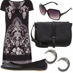 Un outfit spendendo davvero poco. Abitino fantasia bianco e nero, ballerine nere ad un super prezzo, borsa nera a tracolla, orecchini argentati a semicerchio e occhialoni neri.