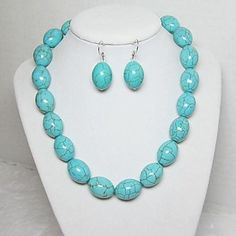 Women's Turquoise Necklace Earring Jewelry Set – USD $ 4.99