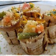 Involtini di melanzane grigliate con cous cous e verdure di Tiziana, ricetta per il giveaway con verdevero.it