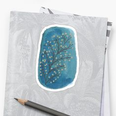 'Blue leaf doodle Sticker by Gracefulrebel Leaves Doodle, Leaf Silhouette, Blue Leaves, Watercolor Background, Glossier Stickers, Iphone Wallet, Doodles, My Arts, Stamp