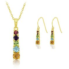 $14.99 - 2 Carat Multi-Gemstone Journey Pendant & Earring Set in 18K Gold-Plated Sterling Silver