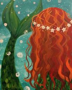 Ocean's Daughter Saturday, October 6 - Beautiful mermaid, under the sea . Won't you come up and visit me? Sparkling flowers ringed in your hair Made of sea pearls - none can compare. Mermaid Canvas, Mermaid Artwork, Mermaid Paintings, Paint And Sip, Kids Artwork, Painting For Kids, Painting Classes, Cool Paintings, Paint Party