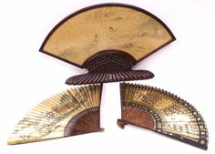(lot of Antique Chinese fans including: the first, mounted in an unusual and well carved wooden stand, the gilt fa. Painted Fan, Chinese Fans, Hand Fan, Auction, Home Appliances, Carving, Asian, Antiques, Gallery