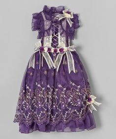 Look kinda Victorian - Purple Lace Floral Embroidered Dress & Shrug - Toddler & Girls by Bijan Kids #zulilyfinds