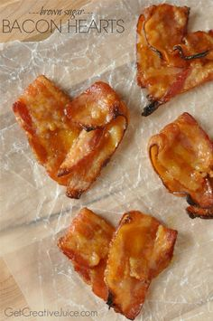 Brown sugar Bacon hearts recipe and tutorial - heart shaped bacon perfect for Valentines day! simple recipe for oven baked bacon hearts
