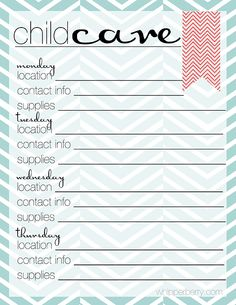 childcare schedule for the family planner