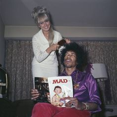 Jimi Hendrix reading Mad, 1968