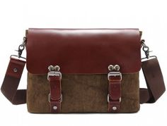 Men's Kattee Cross Body Vintage Messenger Bag Fashion Leather Canvas,Free shipping to worldwide
