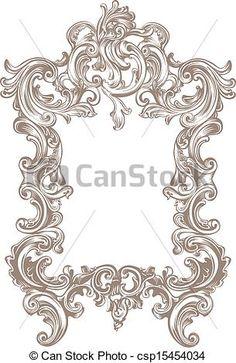 Buy Frame Baroque by Vanzyst on GraphicRiver. Baroque frame on white background Baroque Frame, Motif Baroque, Baroque Pattern, Pattern Art, Baroque Design, Wood Carving Patterns, Carving Designs, Design Elements, Design Art