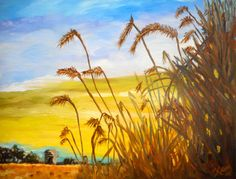 Wheat field, oil painting, original art, farm land, landscape painting, art and collectables, fall harvest by ArtbyKatsy on Etsy https://www.etsy.com/listing/177941912/wheat-field-oil-painting-original-art