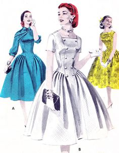 1950s Dress Pattern Butterick 7708 Drop Waist Full Skirt Dress Square Neckline Button or Bow Trim Vintage Sewing Pattern Bust 31     Pinned by WhatnotGems