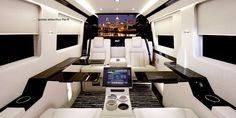 These outwardly sedate vans with wildly elaborate interiors are the work of Becker Automotive Design. These vehicles with masterfully refurbished innards are the Becker Mercedes-Benz Sprinter JetVan and the Becker Executive Cadillac Escalade Jets Privés De Luxe, Luxury Jets, Luxury Private Jets, Private Plane, Benz Sprinter, Mercedes Sprinter, Auto Design, Automotive Design, Automotive Solutions