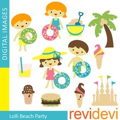 Lolli Beach Party 07323.. Instant download cliparts by revidevi, $5.20