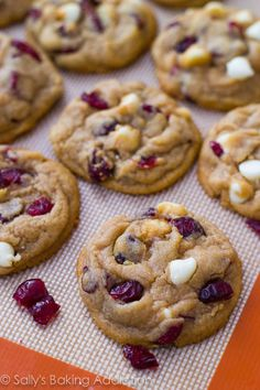 soft-baked white chocolate chip cranberry cookies.