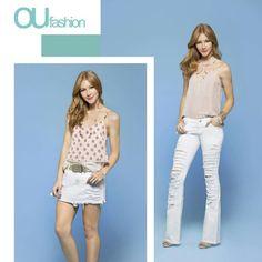 O jeans destroyed branco é descolado e ao mesmo tempo elegante. Que tal para dar um toque fashionista aos looks do dia a dia? #oufashion #verão2017 #destroyed