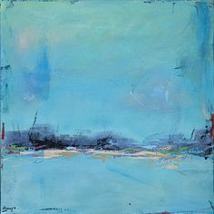 Contemporary Abstract Landscape Painting - Blue Morning by Jacquie Gouveia