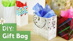 """Tutorial on how to make your own gift bag using newspaper, wrapping paper, drawing paper or regular 8.5x11"""" paper."""