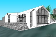 drew architects | clifftop beach house | perspective