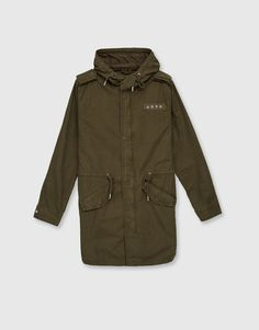 Military parka with patches and hood - What's new - Clothing - Man - PULL&BEAR Malaysia  75% polyester, 25% cotton