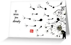 MISS YOU Printed Etegami Greeting Card with by dosankodebbie, $2.30