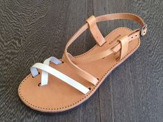 The Mykonos Tan and White Leather Sandal by PureSandals on Etsy