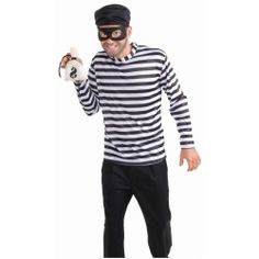 The burglar adult size Halloween costume contains a hat, mask, shirt and money bag. Other accessories in the picture are sold separately. This costume will fit most men with a chest size up to 42 inches. Costume Shirts, Costume Shop, Costume Dress, Costume Craze, Doll Costume, Bank Robber Costume, Adult Costumes, Halloween Costumes, Halloween Ideas