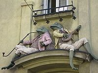 Frogs on building in poland