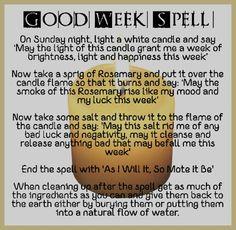 Magick Spells: Good Week #Spell.
