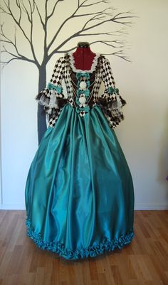 Black white teal green night carnival circus by hhfashions on Etsy, $200.00