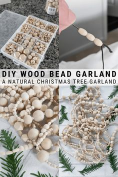 DIY Wood Bead Christmas Tree Garland: Making a Wood Bead Garland : Learn how to make a DIY wood bead Christmas tree garland using unfinished wood beads in different sizes. A beautiful addition to your tree or mantle! Natural Christmas Tree, Bohemian Christmas, Simple Christmas, Winter Christmas, Christmas Holidays, Christmas Crafts, Christmas Mantels, Victorian Christmas, Christmas Tree Bead Garland