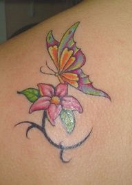 Colorful Butterfly and flower tattoo