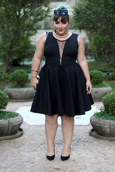 "Wow, here is a great ""little black dress"" for the #plus sized woman. #fashion #plus-size #curvy"
