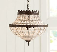Shop dalila beaded crystal chandelier from Pottery Barn. Our furniture, home decor and accessories collections feature dalila beaded crystal chandelier in quality materials and classic styles. Chandelier Design, Wood Bead Chandelier, Crystal Pendant Lighting, Round Chandelier, Bronze Chandelier, Ceiling Chandelier, Ceiling Lights, Pendant Lamp, Closet Chandelier