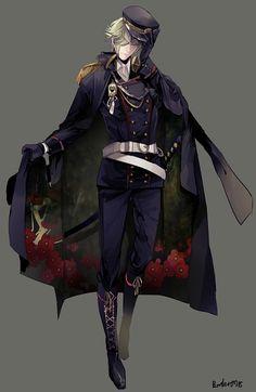Tags: Anime, Pixiv Id 1526748, Touken Ranbu, Uguisumaru, Epaulettes, Military Hat, Black Handwear