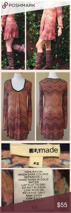 Long Sleeve Boho Mini Dress This long sleeve boho mini dress is soft, effortless, and fun.  It looks great with boots and all sorts of layering pieces.  Worn once and in excellent, like new condition. 100% rayon, hand wash. LAmade Dresses Mini