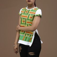 Each Kente pattern has a specific meaning, relating to the history or beliefs of the Ashanti people. African Shirts For Men, African Blouses, African Tops, African Wear, African Dress, African Men Fashion, African Fashion Dresses, Fashion Outfits, African Beauty