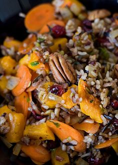 Pecan, Squash and Cranberries Speckled Wild Rice