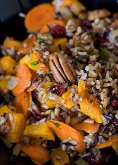 Pecan, Squash and Cranberries Speckled Wild Rice