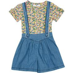 2 Piece Pure Cotton Floral T-Shirt Pinafore Outfit (1-7 Years) M&S