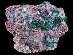 Dioptase calcite and Duftite on matrix from Tsumeb