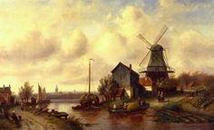 A Dutch River Villageby Charles Henri Joseph Leickert