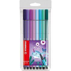 Filzstifte Pen 68 Etui Living Colors Ltd. Narwhal, 8 Far Stabilo Pen 68, Stabilo Boss, Stationary School, School Stationery, Nail Tech School, Pastel Gras, Middle School Supplies, School Suplies, Ink