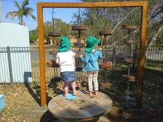 Extremely cool bell stand made from old brake drums on chain, from Enhanced Learning. Pinned by Alec from http://childsplaymusic.com.au/